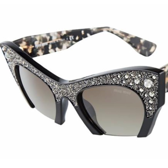 3a50716cb2a2 Miu Miu Accessories | Rasoir Crystal Embellished Sunglasses Nwt ...